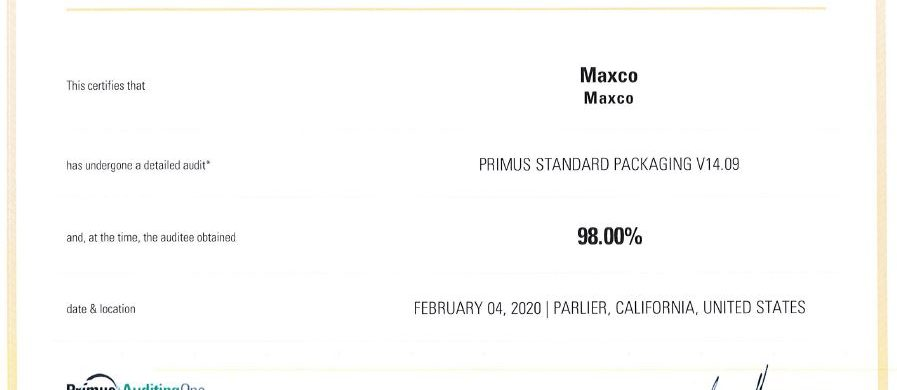 2020 Maxco food safety certificate