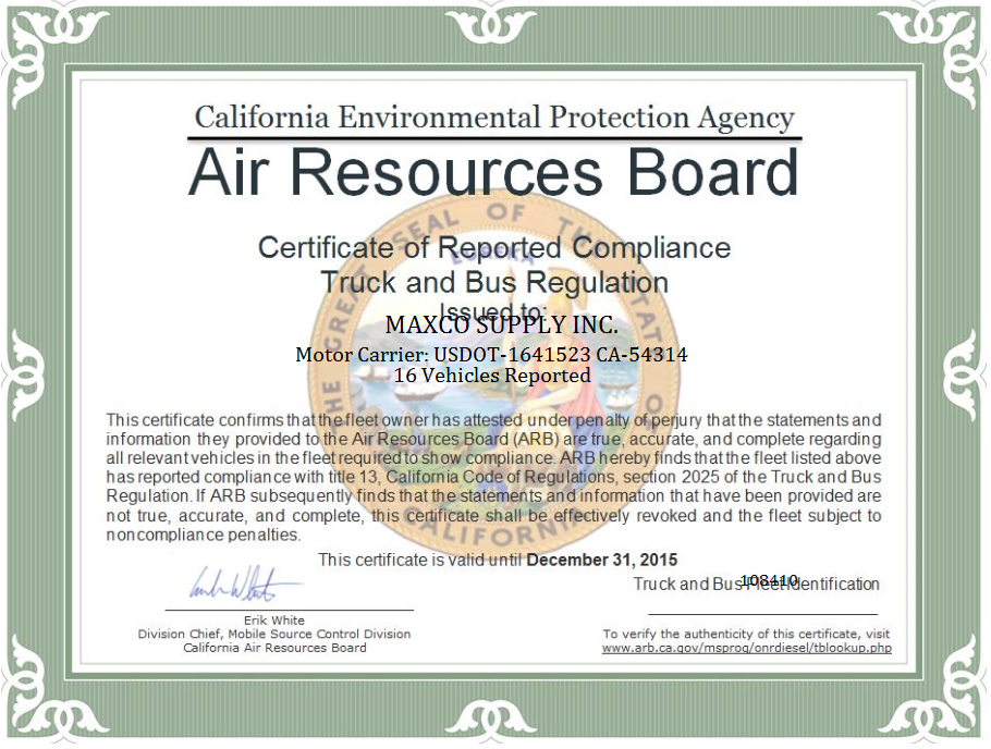 air board california certification resource maxco receives certificate arb